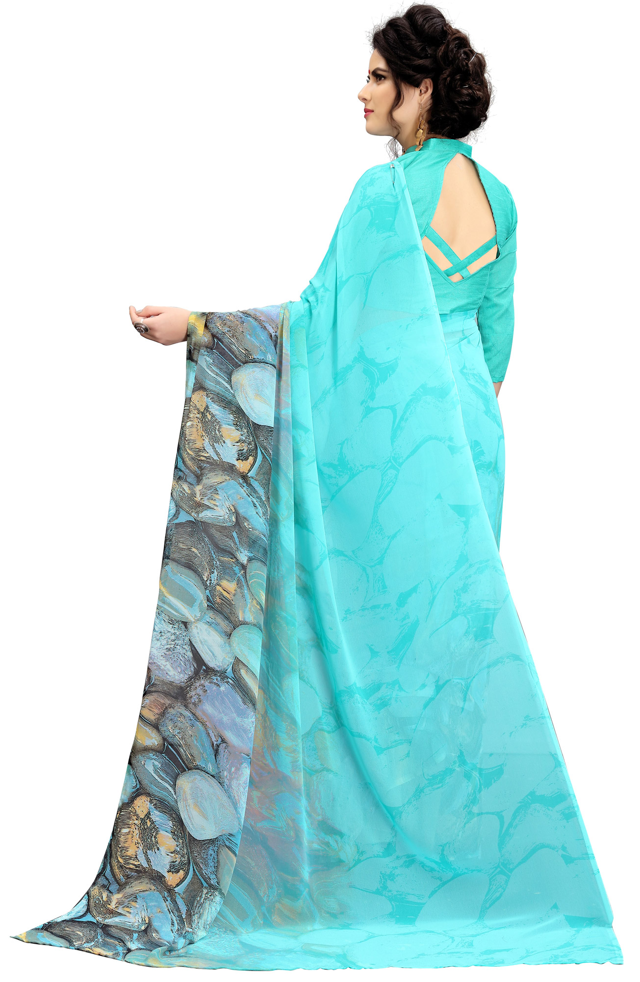 Mesmerising Blue Printed Weightless Georgette Saree