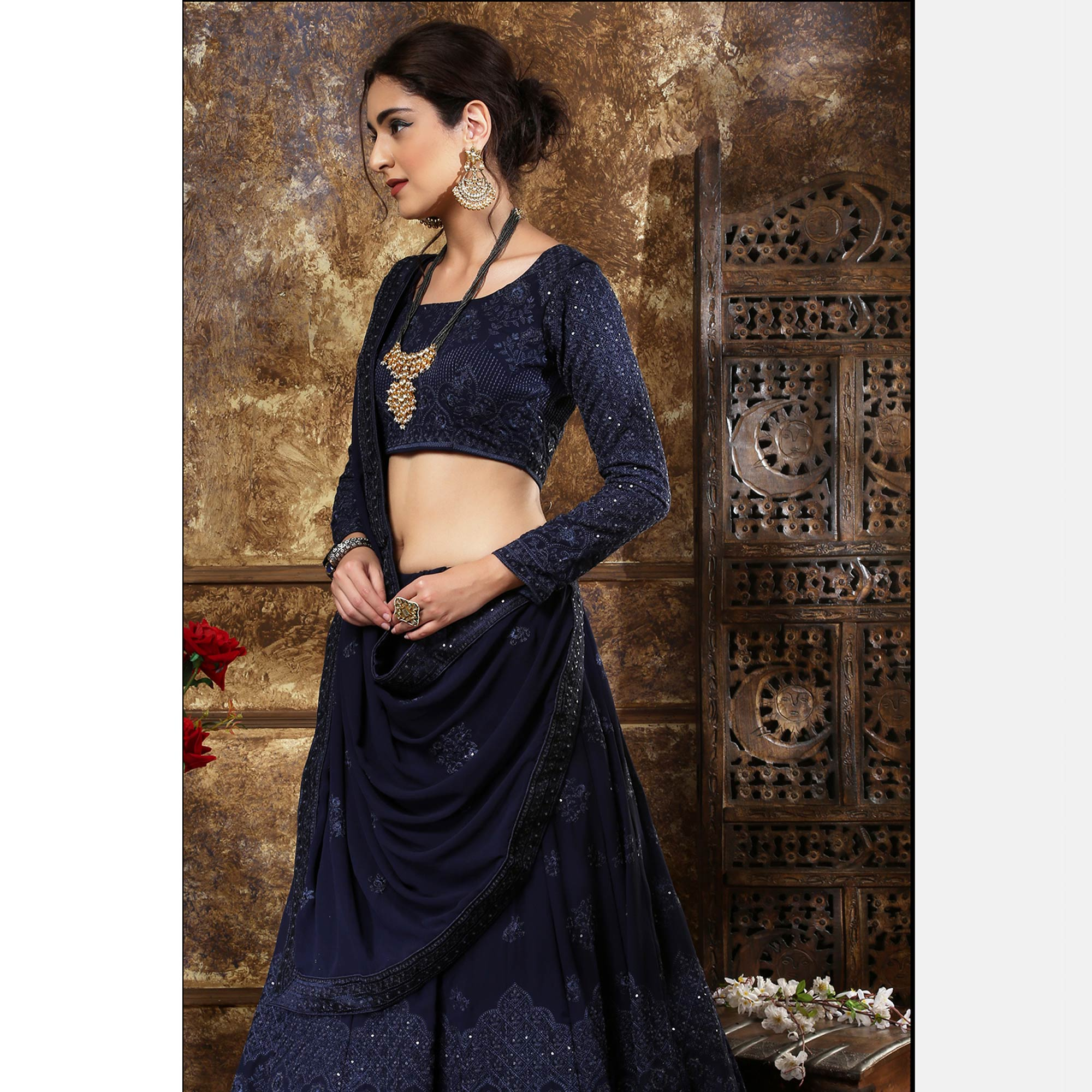 Innovative Navy Blue Colored Partywear Embroidered Gerogette Lehenga Choli