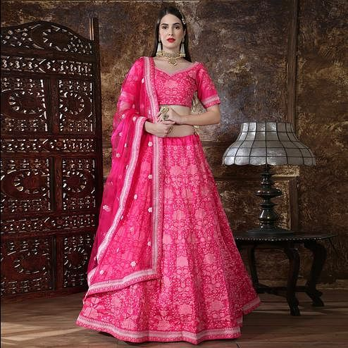 Eye-catching Pink Colored Partywear Embroidered Silk Lehenga Choli