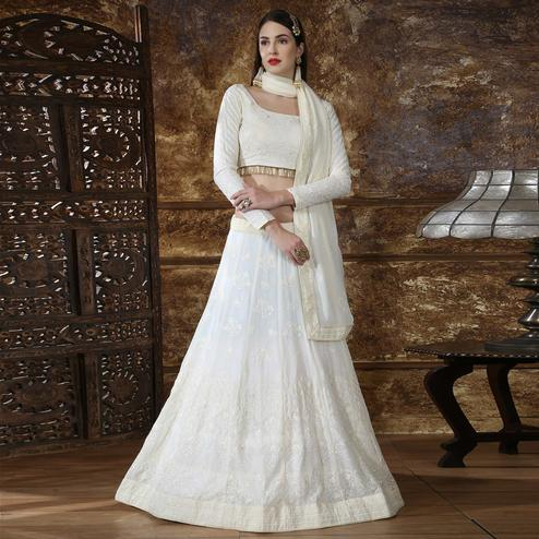 Fantastic Offwhite Colored Partywear Embroidered Gerogette Lehenga Choli