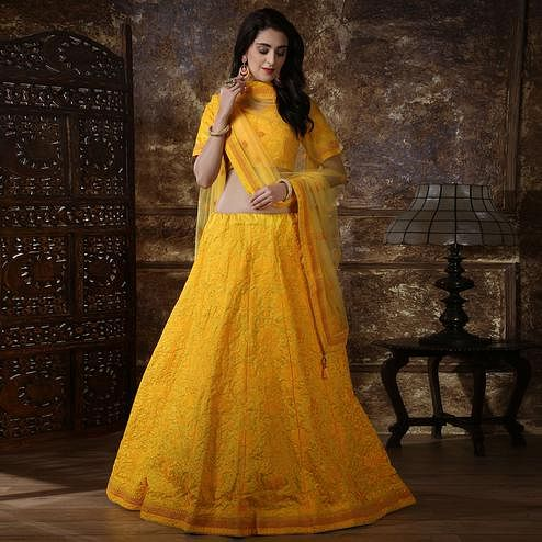 Gorgeous Yellow Colored Partywear Embroidered Silk Lehenga Choli