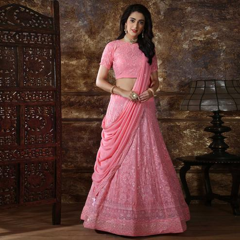 Blissful Pink Colored Partywear Embroidered Gerogette Lehenga Choli
