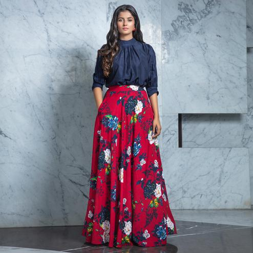Majesty Navy Blue - Maroon Colored Partywear Printed Rayon Top-Skirt Set