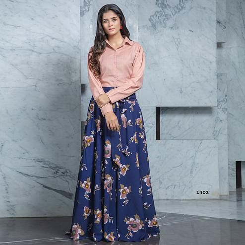 Impressive Dusty Pink - Navy Blue Colored Partywear Printed Cotton Top-Skirt Set