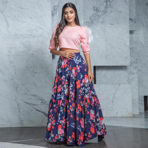 Mesmerising Pink - Navy Blue Colored Partywear Printed Cotton Top-Skirt Set