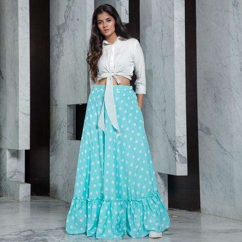 Ethnic White - Sky Blue Colored Partywear Printed Cotton Top-Skirt Set