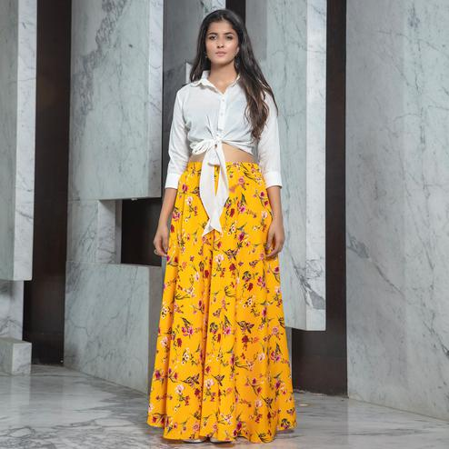 Ravishing White - Yellow Colored Partywear Printed Rayon Top-Skirt Set