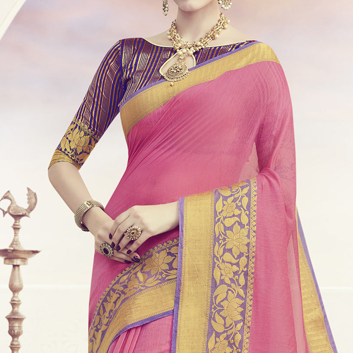 Pink Weaving Cotton Festive Wear Saree