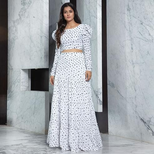 Dazzling White Colored Partywear Printed Cotton Top-Skirt Set
