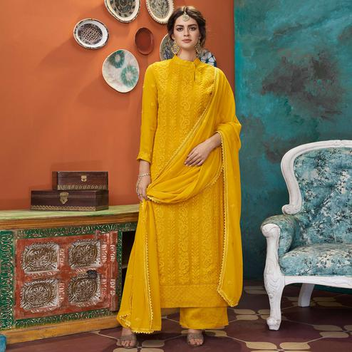 Marvellous Yellow Colored Partywear Embroidered Heavy Faux Georgette Palazzo Suit