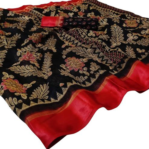 Exceptional Black Colored Casual Wear Printed Kota Doria Saree