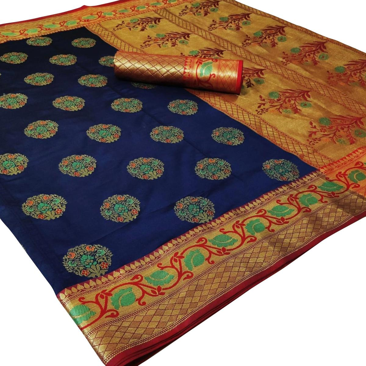 Gleaming Navy Blue Colored Festive Wear Woven Silk Saree
