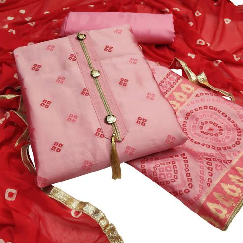 Entrancing Pink Colored Festive Wear Woven Heavy Banarasi Silk Dress Material