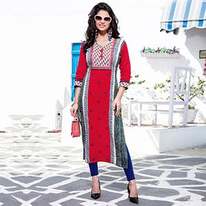 Lovely Red Designer Embroidered Cotton Kurti