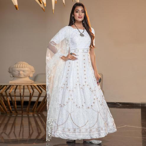 Blooming White Colored Partywear Embroidered Georgette Anarkali Suit