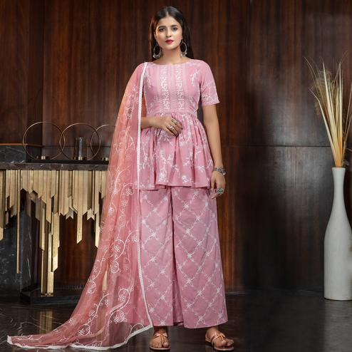Engrossing Pink Colored Partywear Embroidered Gerogette Palazzo Suit