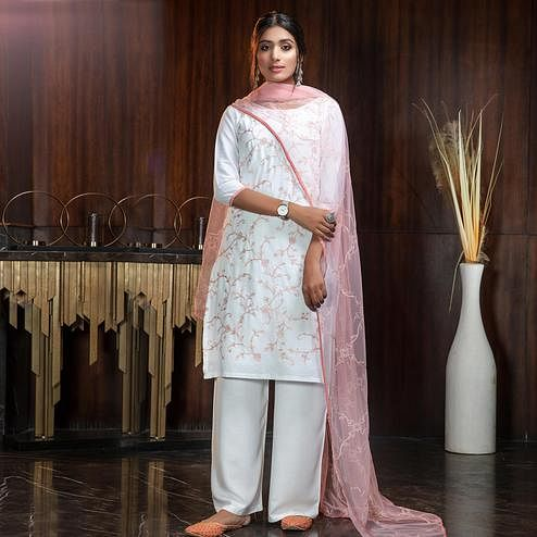 Captivating White Colored Partywear Embroidered Gerogette Palazzo Suit