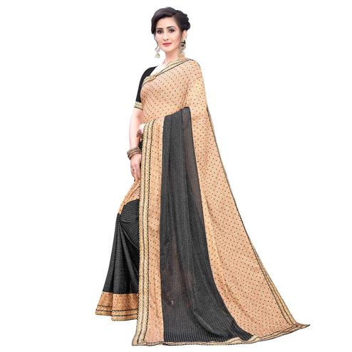 Blissful Black-Rust Orange Colored Party Wear Printed Lycra Blend Saree