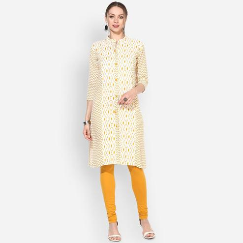 Myshka - Women's White Yellow Printed 3/4 Sleeve Round Neck Casual Cotton Kurti