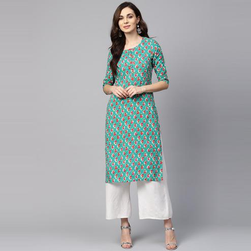 Myshka - Women's Green Printed Regular Sleeves Round Neck Casual Rayon Kurti