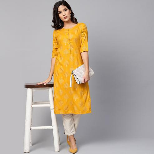 Myshka - Women's Yellow Printed Regular Sleeves Round Neck Casual Rayon Kurti