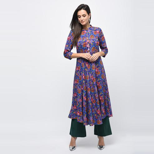 Myshka - Women's Multicolor Printed Regular Sleeves Collared Neck Casual Rayon Kurti