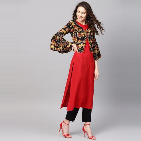 Myshka - Women's Red Printed 3/4 Sleeve Round Neck Casual Rayon Kurti