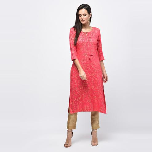 Myshka - Women's Pink Printed Regular Sleeves Round Neck Casual Rayon Kurti