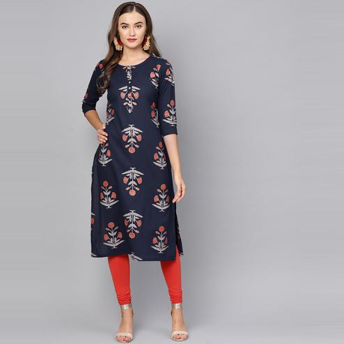 Myshka - Women's Dark Blue Printed Regular Sleeves Round Neck Casual Cotton Kurti