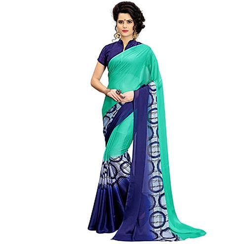 Delightful Green-Blue Printed Imported Chiffon Saree
