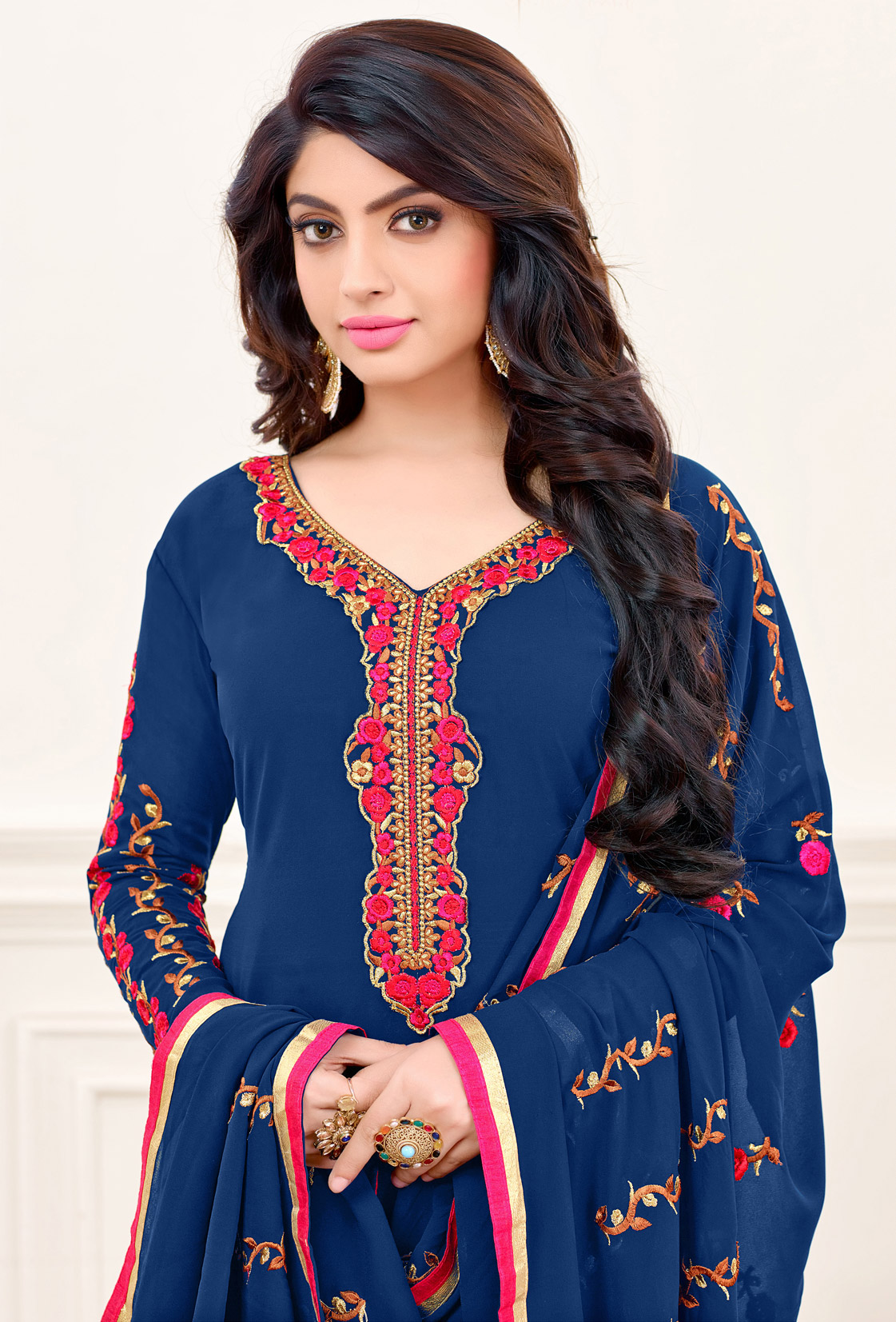 Navy Blue Partywear Embroidered Suit