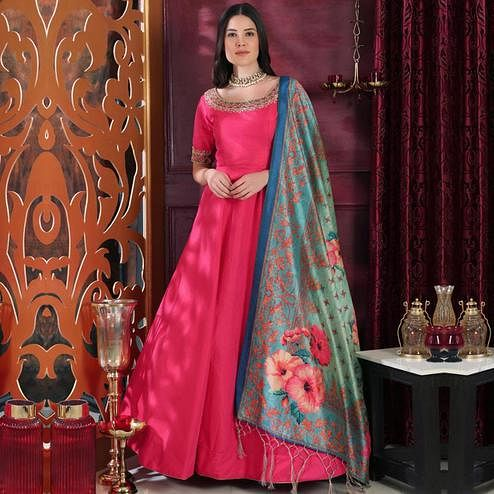 Jazzy Pink Colored Party Wear Embroidered Silk Gown With Dupatta