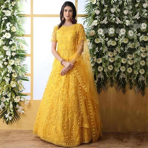 Demanding Yellow Colored Party Wear Embroidered Net Gown With Dupatta