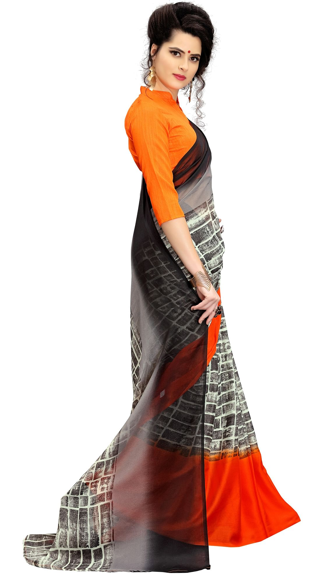 Charming Orange-Gray Printed Imported Chiffon Saree