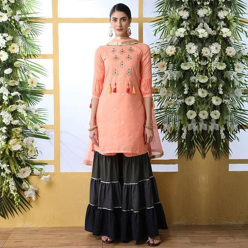 Ideal Peach Colored Party Wear Embroidered Soft Cotton Palazzo Suit