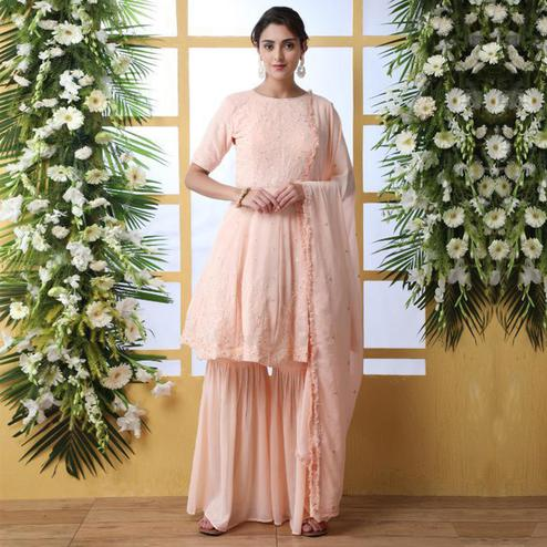 Classy Peach Colored Party Wear Embroidered Georgette Palazzo Suit