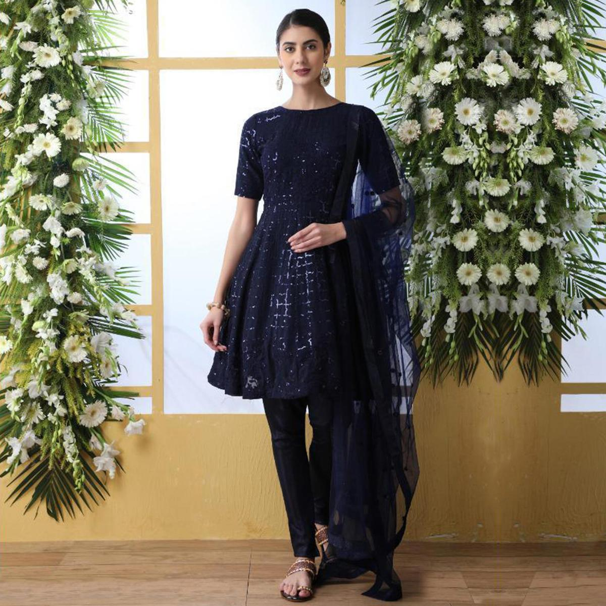 Prominent Navy Blue Colored Party Wear Embroidered Georgette Suit