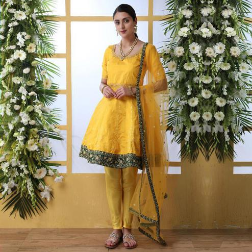 Capricious Mustard Yellow Colored Party Wear Embroidered Art Silk Suit