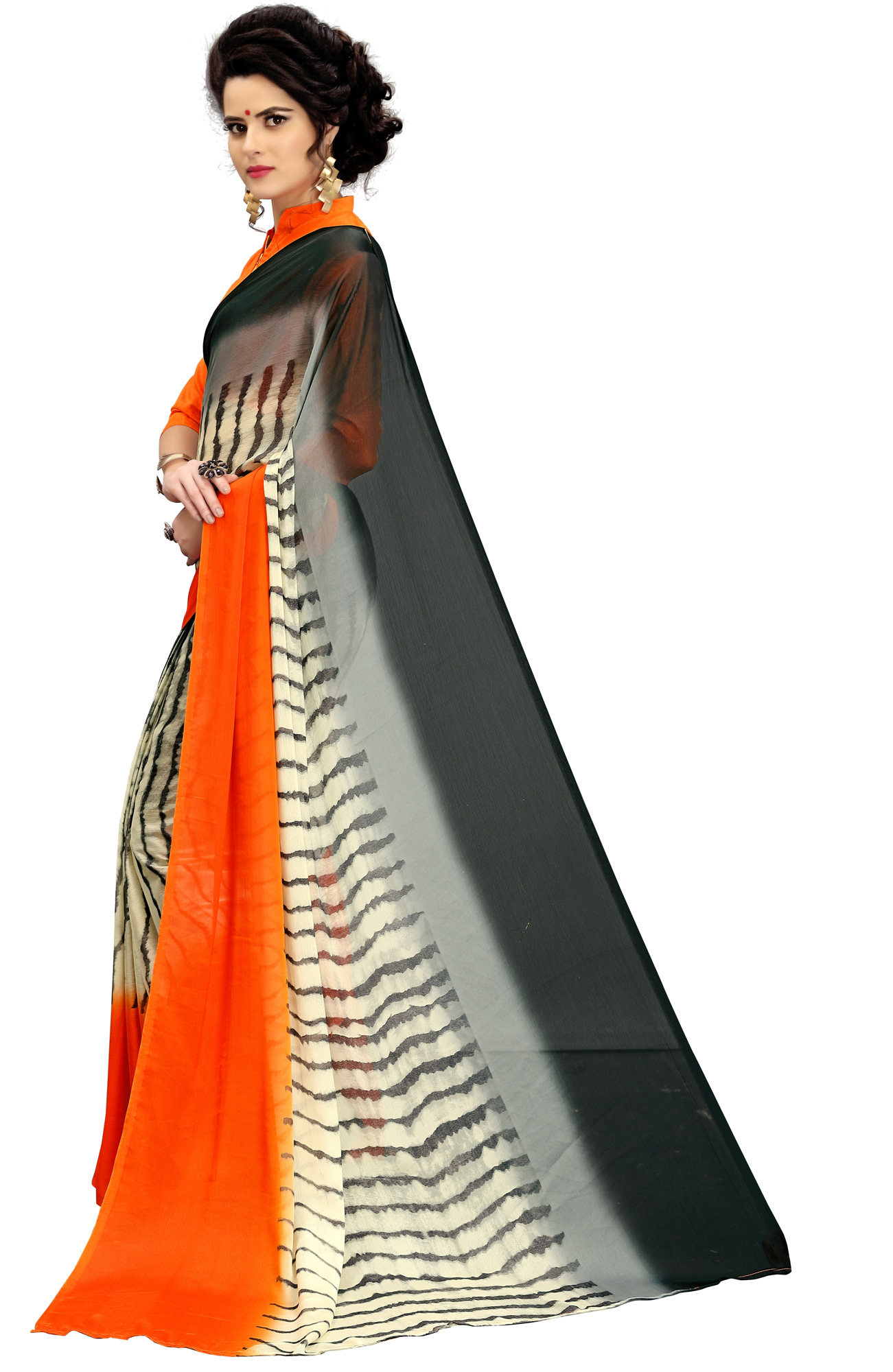 Beautiful Orange-Cream Printed Imported Chiffon Saree