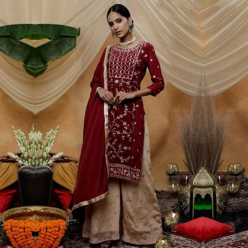 Jazzy Maroon Colored Party Wear Embroidered Art Silk Palazzo Suit