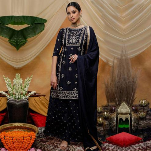 Engrossing Navy Blue Colored Party Wear Embroidered Art Silk Palazzo Suit