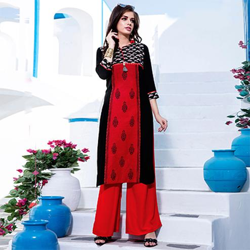 Classy Red-Black Designer Embroidered Cotton Kurti