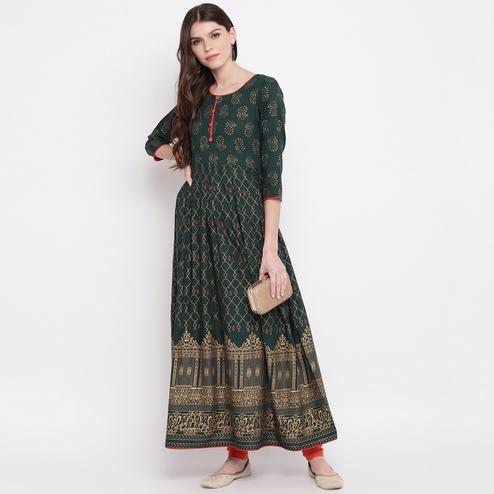 Sophisticated Dark Green Colored Party Wear Printed Flared Ankle Length Rayon Kurti