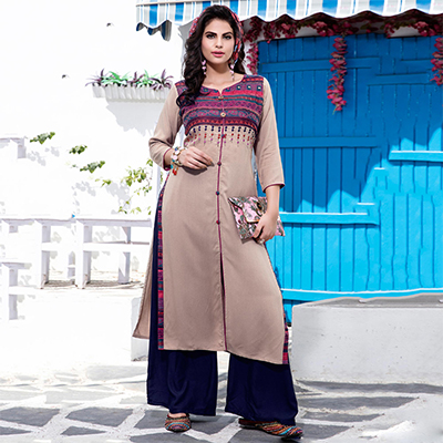 Flamboyant Beige Designer Embroidered Cotton Kurti