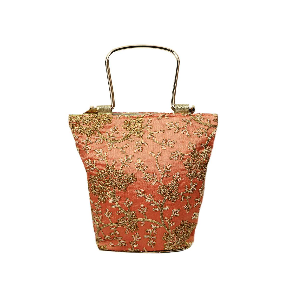 Lelys - Handcrafted Ethnic Party Wear Hand Bags For Women/Girls - Peach