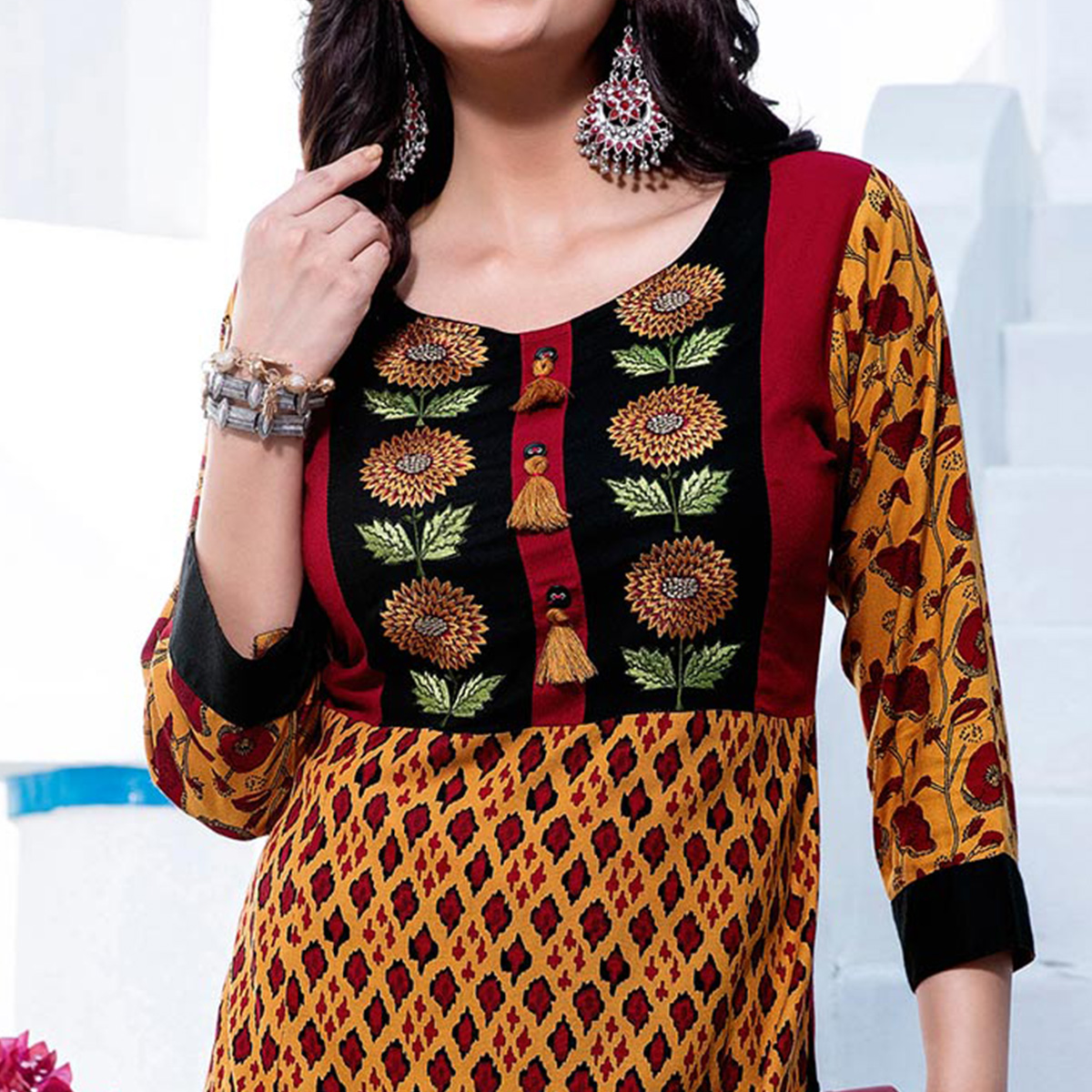 Trendy Yellow Designer Embroidered Cotton Kurti