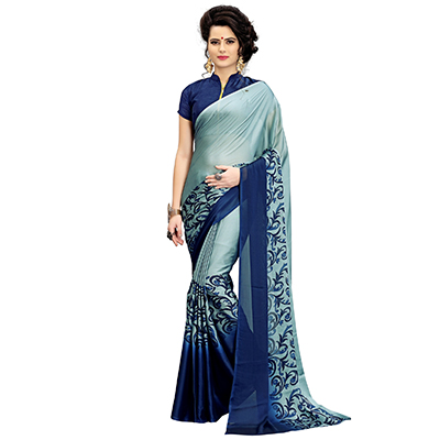 Adorable Gray Printed Imported Chiffon Saree