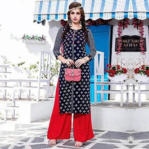 Attractive Navy Designer Embroidered Cotton Kurti