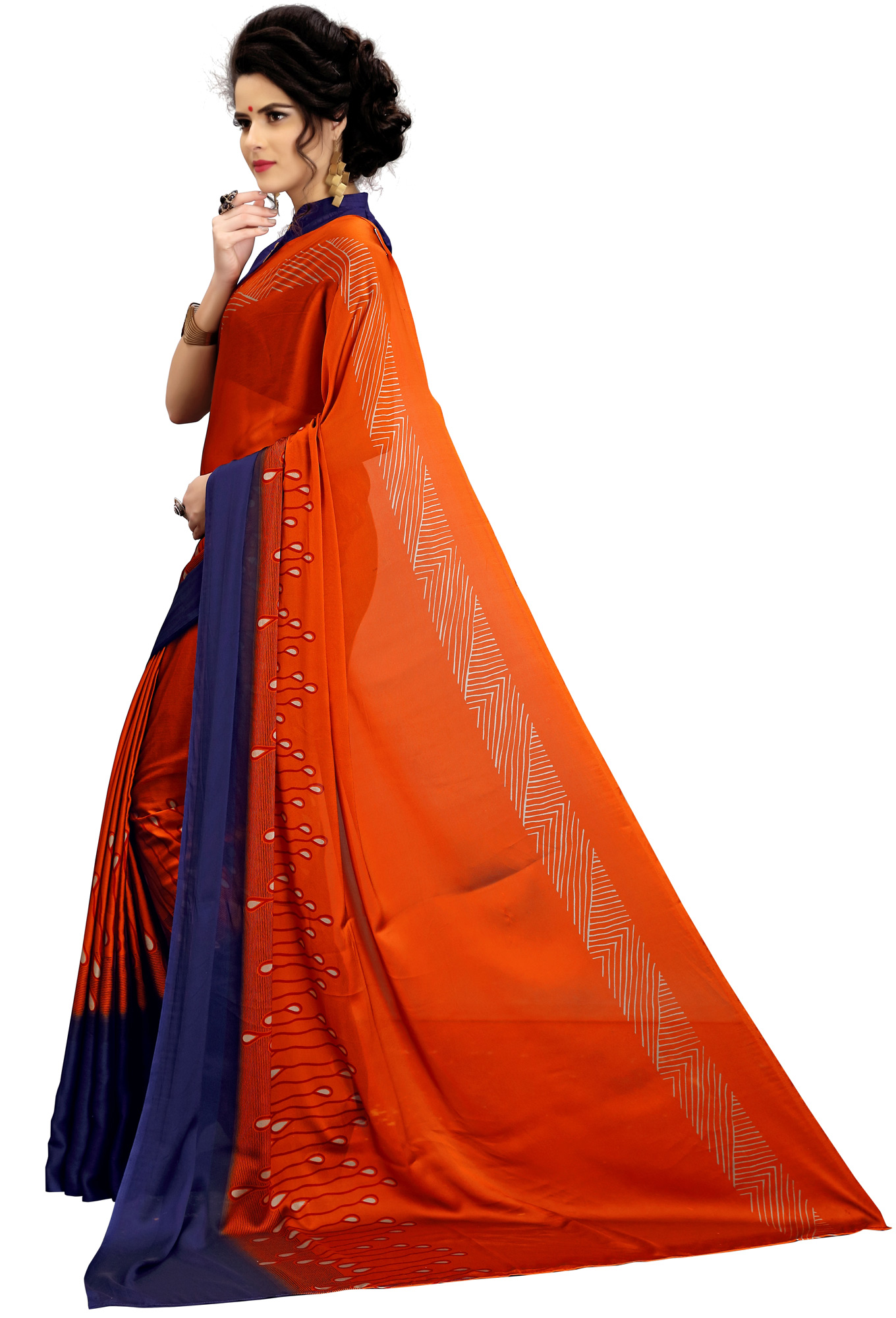 Graceful Orange Printed Imported Chiffon Saree