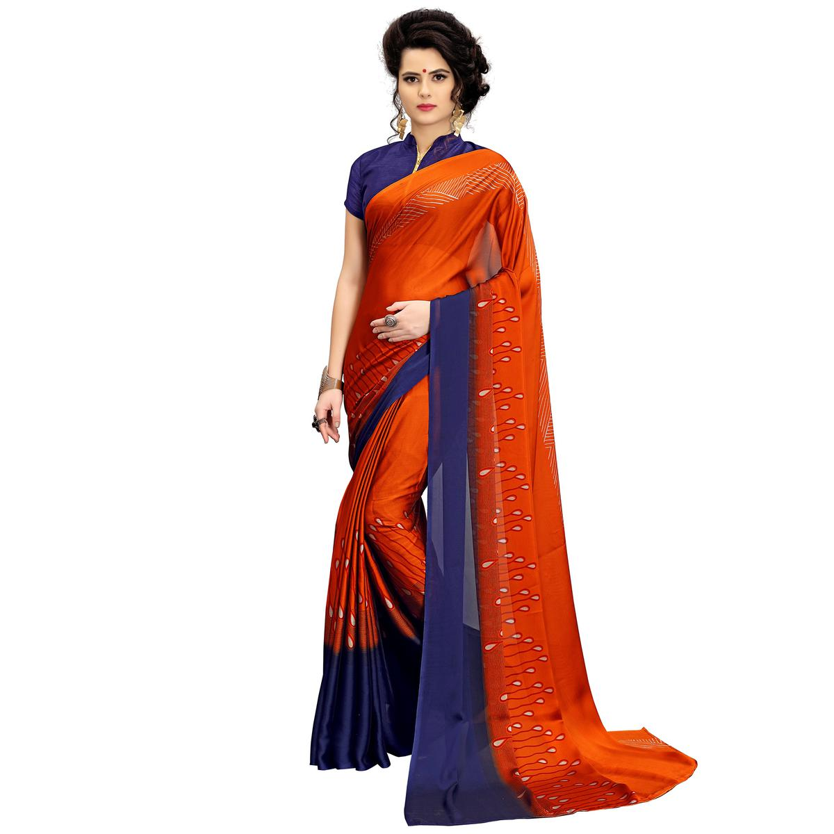 Gorgeous Red Printed Imported Chiffon Saree